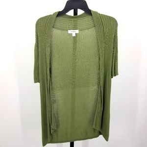 Dress Barn Cardigan Open Front Rib Knit Green